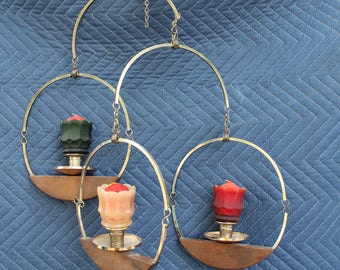 Mid-Century Hanging Brass/Teakwood Candle Colder