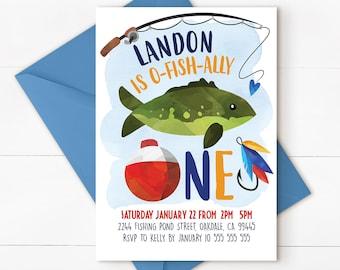 Fishing party, fishing invitation, fishing birthday, fishing party invitation, fishing first birthday, fishing birthday invitation