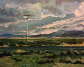 Expressive Sky Acrylic Landscape Painting on Canvas