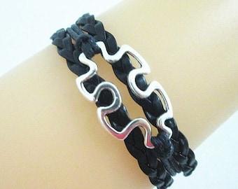 Quality Black Leather Braided Autism Puzzle Piece Bracelet