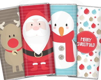 Christmas Chocolate Bar Wrappers. Printable Kids Candy Wraps, Stickers, Gift Labels. Digital Party Favor. Large Candy Bar Instant Download