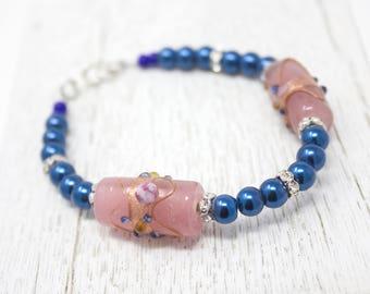 Blue Bracelet, Glass Pearl Jewelry, Deep Blue Pearl, Glass Pearl Bracelet, Lampwork Jewelry, Vintage Style