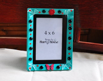 Butterfly Picture Frame/Seafoam Green Frame/4x6 Picture Frame/Black Matte Frame/Fantasy Picture Frame/Flower Frame/Funky Picture Frame/Hippy