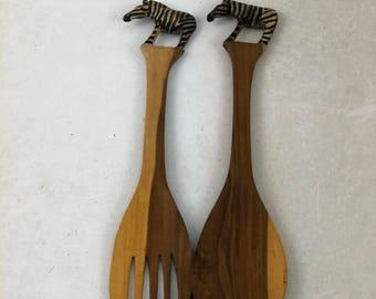 Vintage Wood Zebra Salad Serving Utensils