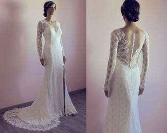 Bohemian lace wedding dress with long sleeves/ with train and slit/ v neck/ backless/ open back/ nude lace/ Robe de mariée bohème dentelle