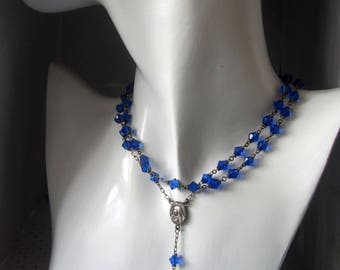 Vintage blue silver rosary, Edwardian silver rosary necklace. blue glass beads rosary