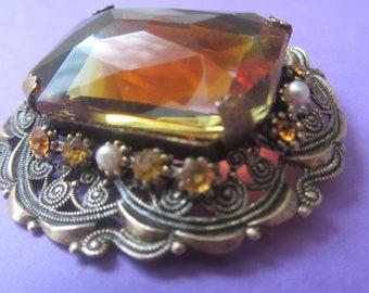 Victorian amber brooch, Antique amber brooch, large obong amber brooch, Victorian jewellery, Amber pearl rhinestone brooch