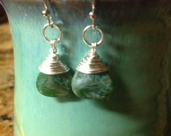 """Glass Bead """"Stone-look"""" Wire-wrapped Earrings"""