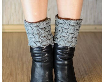 Women Shell Knitted Lace Boot Cuffs Boot Toppers Knitted Boot Cuffs Trim Boot Cuffs