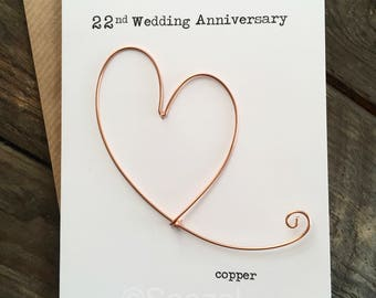 22nd Wedding Anniversary Designer Keepsake Card COPPER Wire Heart 22 Years Traditional Gift Husband Wife
