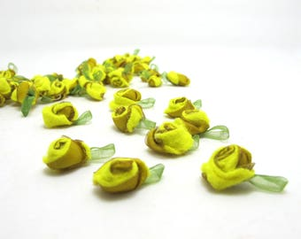 15 Pieces Yellow Acrylic Felt Rolled Flower Buds|With Leaf Loop|Glued|Floral Empplique|Rosette Flowers|Rose Buds|Flower Decor|Acrylic Felt