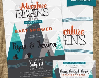 Adventure Baby Boy Shower Invitation Kit, Baby Boy Shower Invite, Co-ed, Book for baby, Mountain, Adventure Begins, Adventure Awaits
