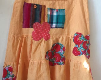 repurposed cotton embellished skirt size 8