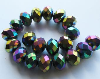 20 Large Faceted Crystal Glass Rondelle Beads Spacers Electroplated Rainbow Petrol Colours