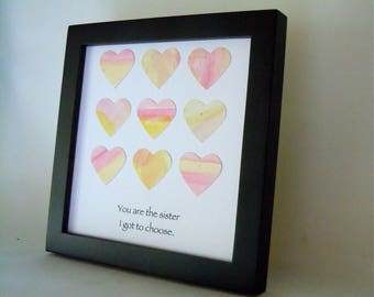 Watercolor Hearts for Friend- Friendship Gift -  Framed Square Art  - Square Frame - Watercolor Collage - Original Art- Quote for Friend