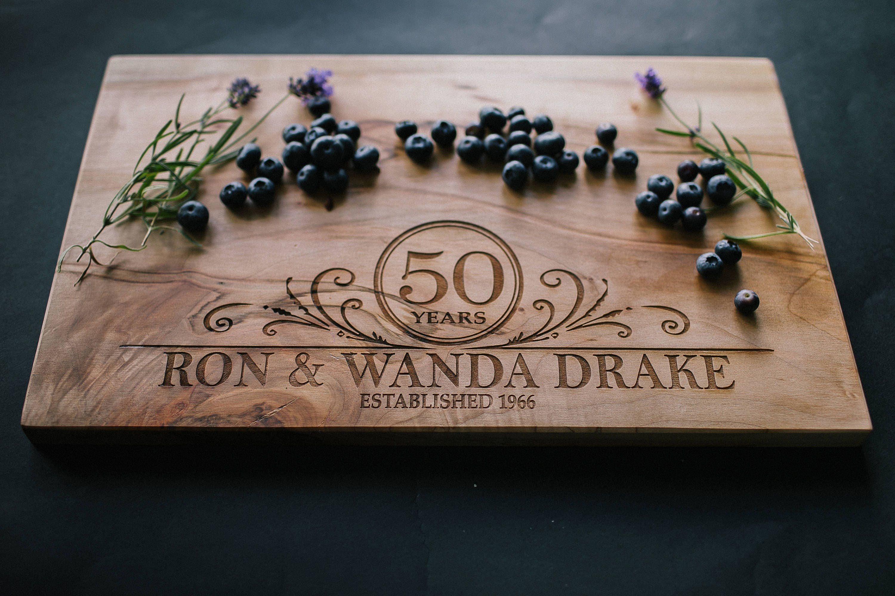 50th Wedding Anniversay Gifts: 50th Wedding Anniversary Gift Personalized Cutting Board Maple