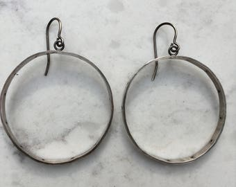 Drilled Silver Hoops