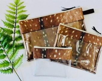 Axis Deer print Vinyl-lined Cosmetic Bags