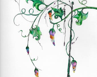 Fantasy Fairy Pods Original Watercolor Art,9x12,watercolor,pen,original,nature,wall art,colorful flowers,child room,green leaves,living room
