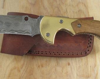 "Warren"" Custom Made  Damascus Steel Folding Knife, Tanto Point Blade, Walnut Handle, O2W2-5"