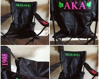 ON SALE AKA Tailgating Chair / Alpha Kappa Alpha chairs/ 1908/ Pink and Green/ Custom Aka