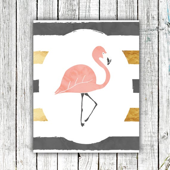 Nursery Art Printable, Flamingo, Watercolor, striple,  Grey. gold and blush , Instant Download #660