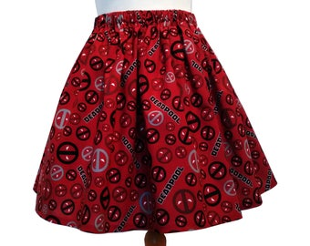 Deadpool Skirt Unlined Elasticated Cotton Ready To Ship