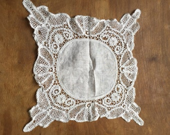 Antique Lace Hanky- Beautiful-hand made lace edge-c1890s-Portuguese