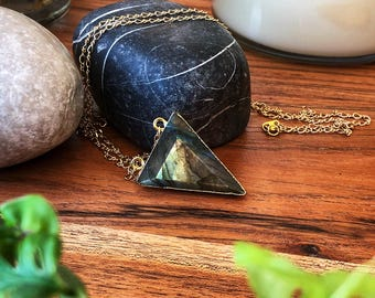Crystal Necklace - Long Gold Filled Chain - Large Iridescent Labradorite Pendant
