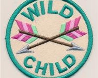 Embroidered Patch / applique - adventure merit badges wild child- sew, glue or iron on patch