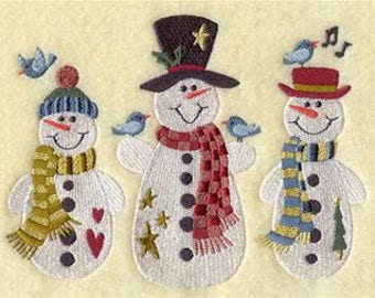 embroidered Hand towel - folksy snowman trio - many colors available