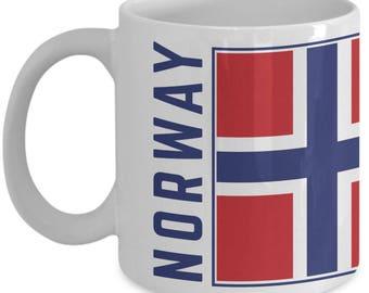 Norway Flag | Norwegian Flag | Coffee Tea Mug | Norwegian Pride | White | Ceramic | 11 oz | 15 oz