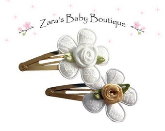 Gold Hair Clips * White Flower Clips * Flower Girl Hair Clips * Girls Snap Clips * Girls Hair Clip * Toddler * Girl's * Zara's Baby Boutique