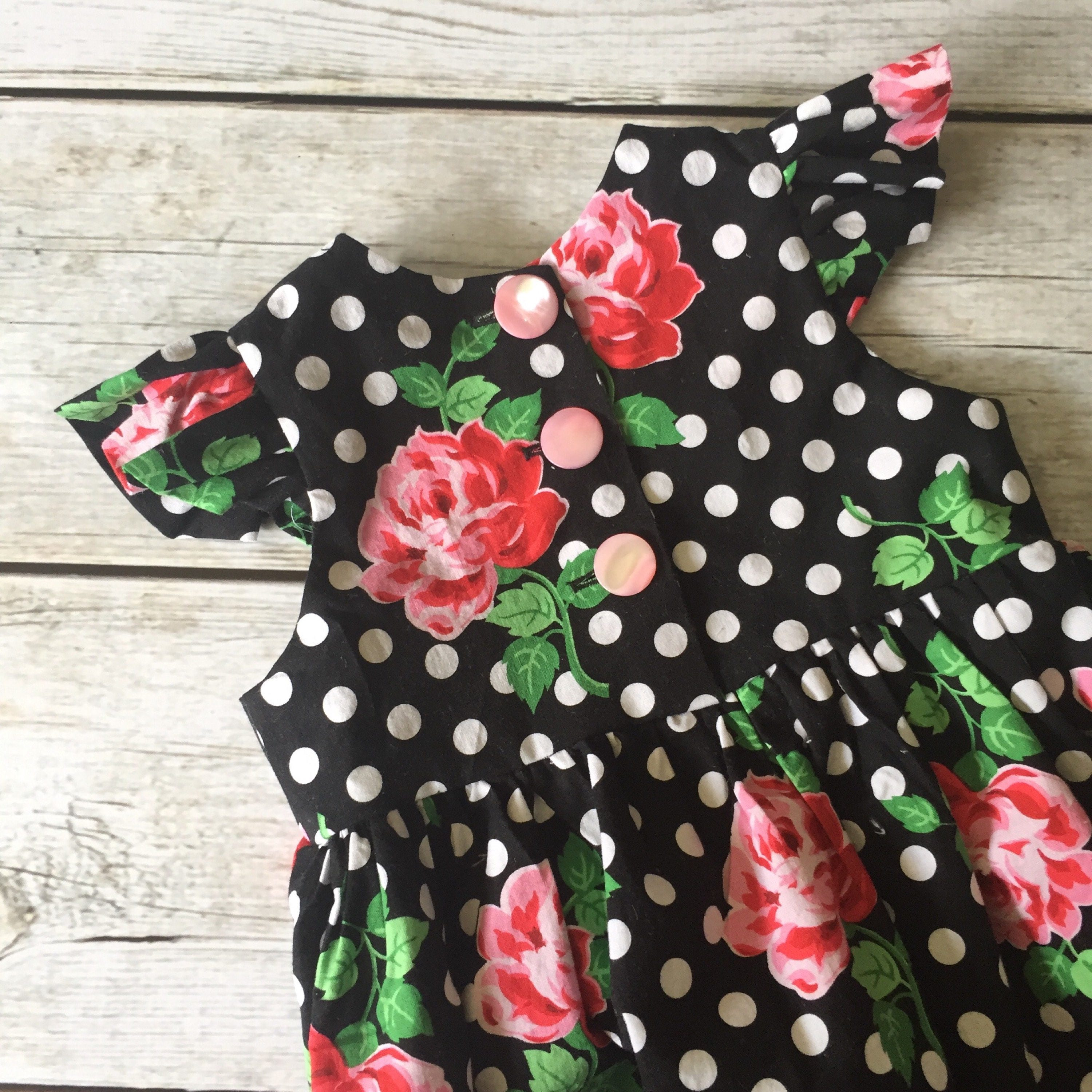 Vintage Style Dress Girls Polka Dot Dress Black White Pink Dress