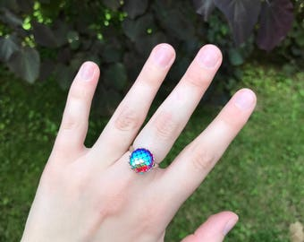Irridescent Pink Mermaid Scale Ring with Silver Band