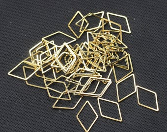 10 Pcs Gold Plated Rhombus Rings , 23x14x1mm , For Jewelry Making Craft Supplies Wholesale Charms YHA-293-7354