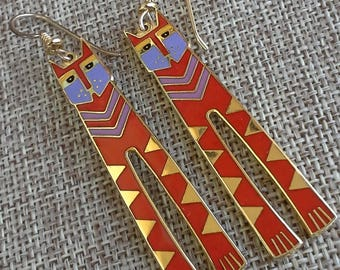 "Vintage 1978 Laurel Burch ""Nubian Cats""  long dangle earrings enamel & gold plated"