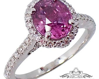 18kt Untreated Sapphire Diamond Ring, GIA 1.87 ct pink Oval Cut Ceylon Sapphire - 3119