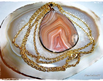 Agate Gemstone Necklace gold-plated apricot-colored Unique