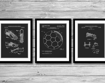 Soccer Patent Prints Group of 3, Soccer Cleat, Soccer Ball, Soccer Goal, Sports Wall Art, Soccer Girl, Boy's Room, P562