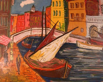 Italian Modernist Painting, Vintage Original Painting of Venice, Vintage Tourist Art from the 1950-60's