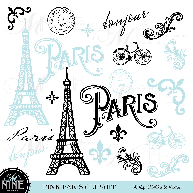 As Creation Pink Paris Pattern Eiffel Tower Childrens: BLUE PARIS Clip Art / Paris Theme Clipart Download / Parisian