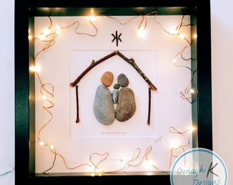Irish PebbleArt / Stone Art Framed Picture - Christmas Nativity Crib - unique personalised Christmas gift, Customised gift.