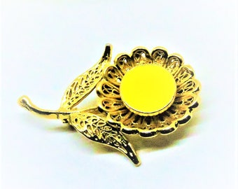Floral Brooch - Vintage, Gold Filled, Yellow Enamel, Sunflower Pin