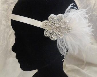 Wedding Bridal Headband retro vintage Charleston feathers Headband mariage mariée rétro vintage Charleston plumes perles cristaux swarovski