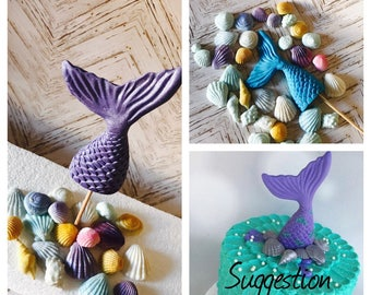 1 X Mermaid Fish Tail and 25 Seashells Beach Theamed Kids Party Cake Cupcake Topper