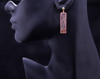 Copper Stained Glass Earrings, Copper Earrings, Heat Patina, Fire Painted, Boho Chic, Bohemian Earrings, Handmade, Art Deco, Contemporary