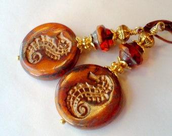 Seahorse Earrings, Czech Seahorse Coin Earrings, Beach Jewelry, Trendy Autumn Jewelry, Golden Orange Earrings, Rustic Orange Dangles, Boho