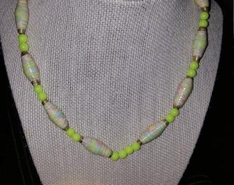 handmade paper bead necklace