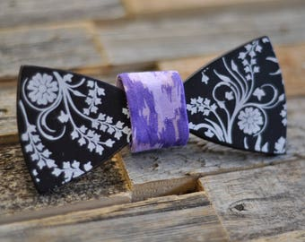 Floral Wood Bow Tie